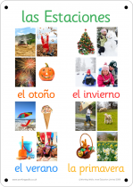 Spanish Seasons Photo Outdoor Learning Board