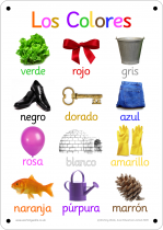Spanish Colours Photo Outdoor Learning Board