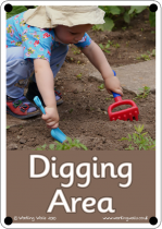 Digging Area Outdoor Sign - Photo Version