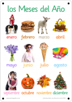 Spanish Months Photo Outdoor Learning Board